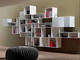 living room modern modular wall mount floating white bookcase