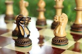 hand made and burnt parker chess pieces in burnt boxwood and