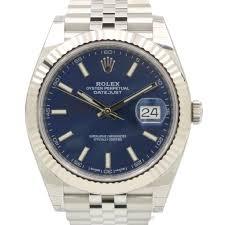 rolex white gold oyster bracelet images Rolex datejust 41 blue index dial fluted white gold bezel jpg