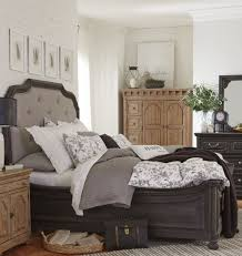 Magnussen Harrison Bedroom Furniture by Bedford Corners Black Queen Upholstered Island Bed From Magnussen