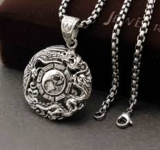 necklace steel images Stainless steel dragon and phoenix yin yang men 39 s pendant necklace jpg