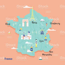 Marseilles France Map by Colorful Map Of France In Retro Style With Popular Landmarks Stock