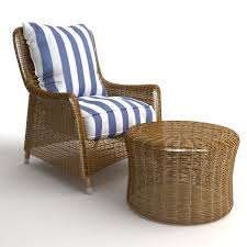 3d model wicker armchair and ottoman cgtrader