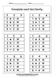 First Grade Math Worksheets Free Free Math Work Sheets Great Site Fact Family Worksheets