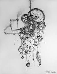 drawn steampunk realistic pencil and in color drawn steampunk