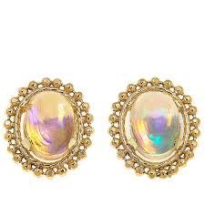 opal stud earrings colleen 14k oval opal stud earrings 8639106 hsn