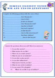 simple present tense wh and yes no questions