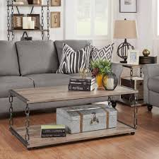 Oak Livingroom Furniture Acme Furniture Caitlin Rustic Oak Built In Storage Coffee Table