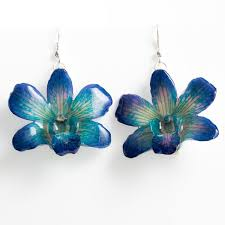 blue dendrobium orchids purple blue dendrobium orchid earrings hanami jewelry