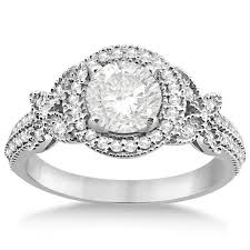 butterfly engagement ring halo diamond butterfly engagement ring 14k white gold 0 33ct allurez