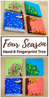 diy four season hand and fingerprint tree keepsake crafts