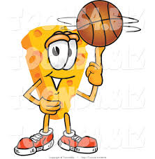 vector illustration of a cartoon cheese mascot playing basketball