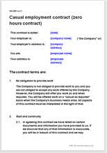 casual employment contract zero hours agreement