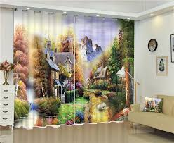 Jungle Blackout Curtains Modern Fashion Jungle View Printing 3d Blackout Curtains For