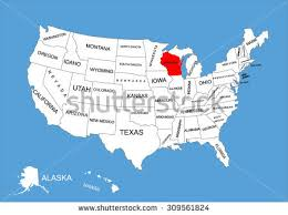 wisconsin map usa wisconsin state usa vector map isolated stock vector 309561824