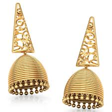 gold jhumka earrings triangular filigree gold jhumkas jewellery india online