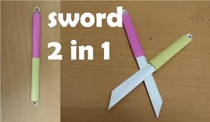 how to make a double paper sword two in one mini weapon