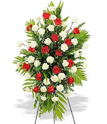 funeral spray roses white carnations sympathy standing funeral spray