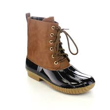s boots calf size axny s lace up two tone calf duck boots half size