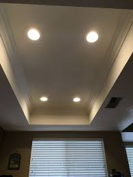 old work led recessed lighting cans removed old lighting installed led s crown molding drywall mud