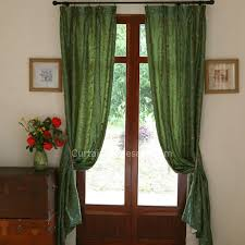 Faux Silk Embroidered Curtains Decorative Green Faux Silk Embroidered Flora Curtain Country Curtain