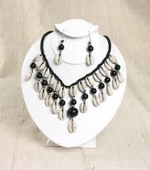 black shell necklace images Beaded cowry shell necklace earring set themotherland online jpg