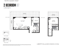 2 Bedroom Floor Plans by Ten93 Queen West Pre Construction Condo Liberty Village Condo