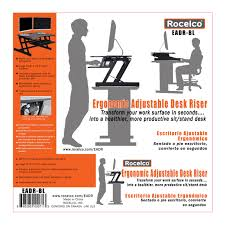 Sit To Stand Desk by Rocelco Eadr Adjustable Height Sit To Stand Desk Riser W Easy Up