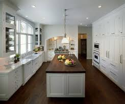 Dark Floor Kitchen by I Love This White With Dark Floor And Dark Butcher Block Counter