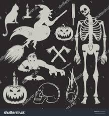 vintage halloween skeleton set halloween icons sign symbols pumpkin stock vector 316452950