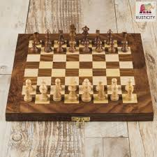 amazon com rusticity wood chess set with folding board and chess