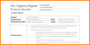 Six Sigma Project Charter Template Excel Project Charter Template Resumes