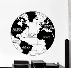 World Map Wall Decal Vinyl Wall Decal World Map Atlas Continents Africa Europe Noth