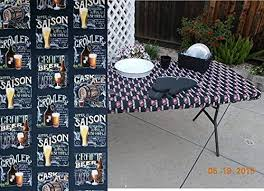 stay put table covers amazon com craft ipa beer print stay put fitted table cover for
