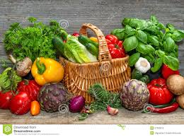 vegetables and herbs on wooden background fresh food ingredient