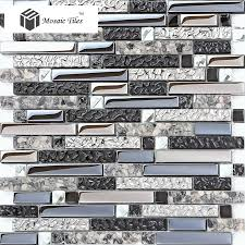 Mirrored Mosaic Tile Backsplash by Interlocking Black Silver Mirrored Glass Resin Mosaic Tiles With