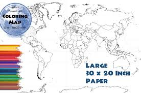 Outline World Map by World Map 30x20 Inches Coloring Map Black U0026 White Map