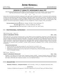 sle cv for quality analyst quality assurance resume exle shalomhouse us