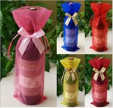 wine birthday gifts wine bottle cover luxury clear organza drawstring birthday gift
