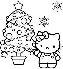 hello kitty and christmas tree coloring page coloring point