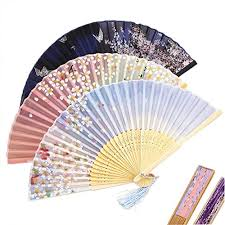 bamboo fans cocostore silk folding fan plum blossom printed