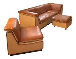 Vintage Leather Club Chair Vintage Rapport Brown Leather Sectional Sofa Set Of 5 Chairish