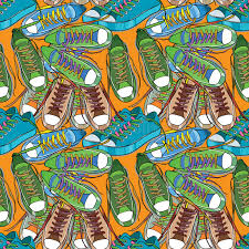 sports wrapping paper illustration of sport shoes seamless pattern wrapping paper stock