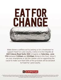 gift card fundraiser eat for change at chipotle food for county