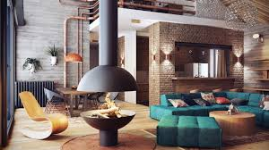 modern industrial apartment with matte black central fireplace