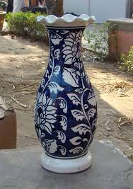 Clay Vase Painting Painted Blue Pottery Vase