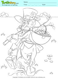 leprechaun and gold pot coloring sheet turtle diary
