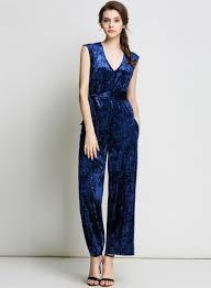 blue velvet jumpsuit s v neck high waist velvet jumpsuit novashe com