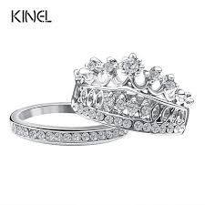 crown wedding rings fashion 2016 crown wedding rings for women silver plated his and