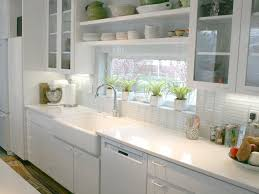 interior traditional white porcelain subway tile kitchen back